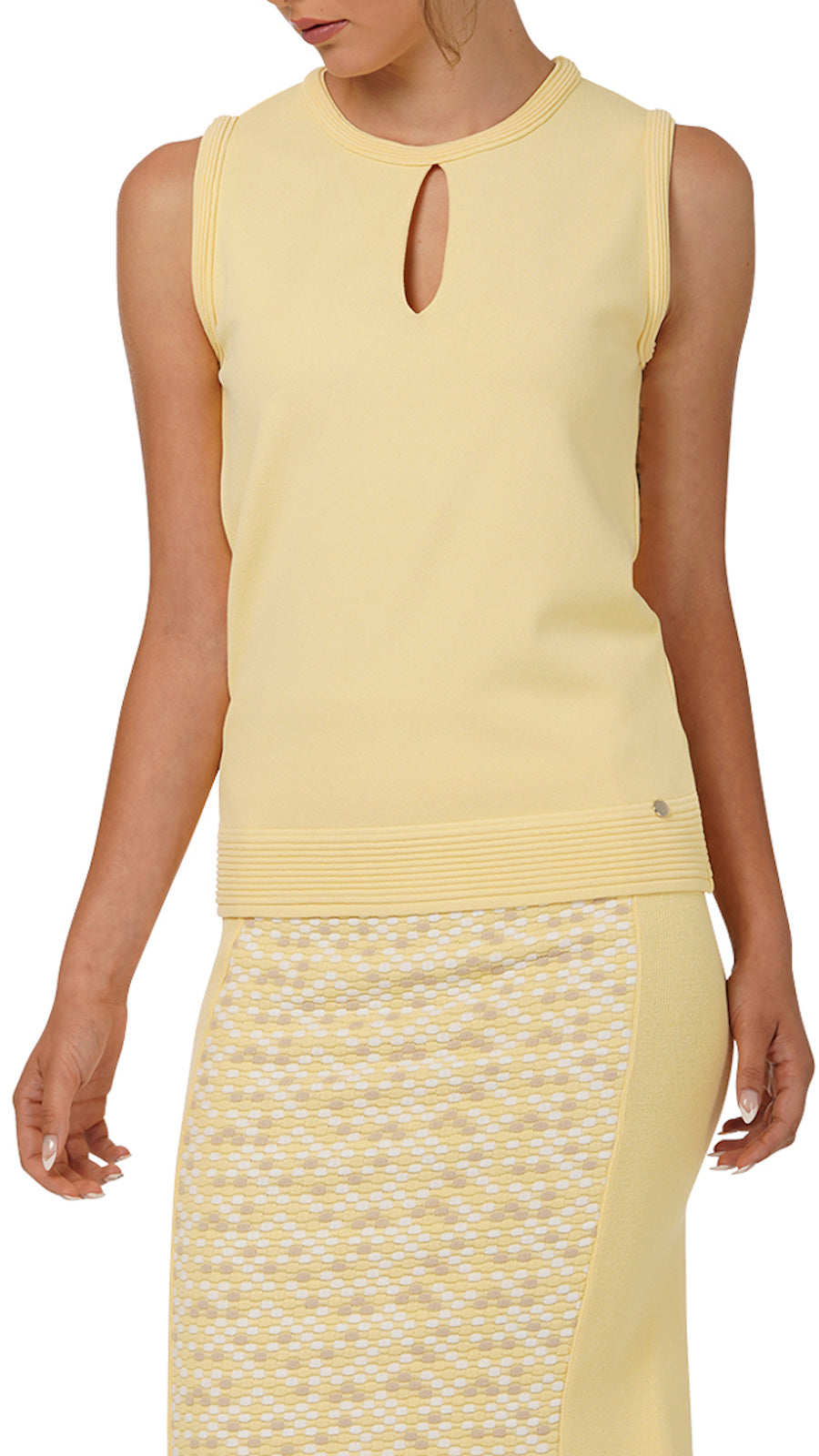 Stella Sleeveless Knitted Top, Yellow
