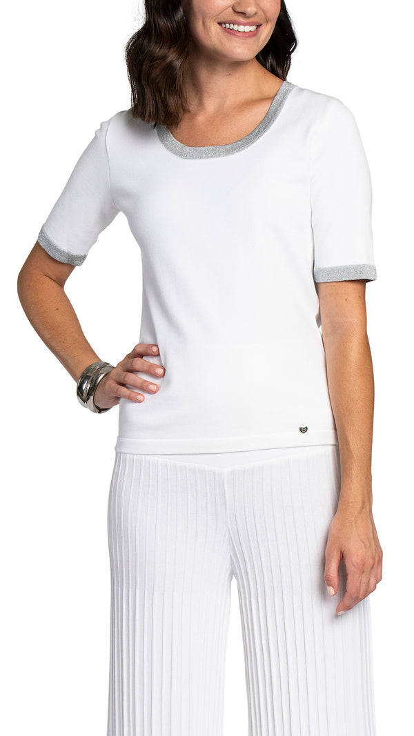 CONTEMPO Sylvana short sleeved top, White/Silver trim