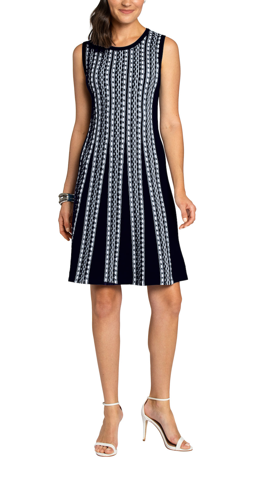 CONTEMPO Thyra Fit and Flare Knitted Dress, Navy/White