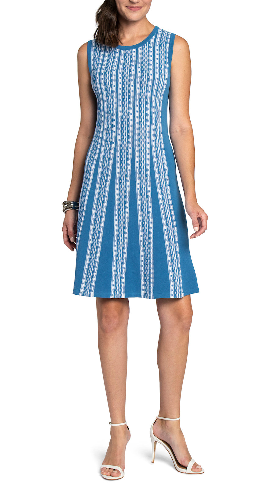 CONTEMPO Thyra Fit and Flare Knitted Dress, Sky Blue/White
