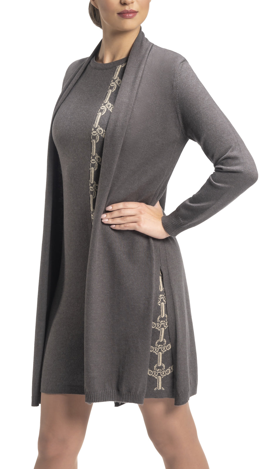 CONTEMPO Tina Long Cardigan, Taupe