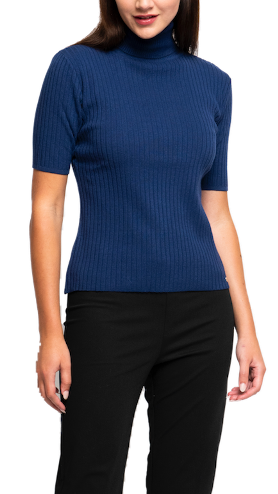 Tory Vertical Rib Knit Turtle Neck Top; Royal Blue