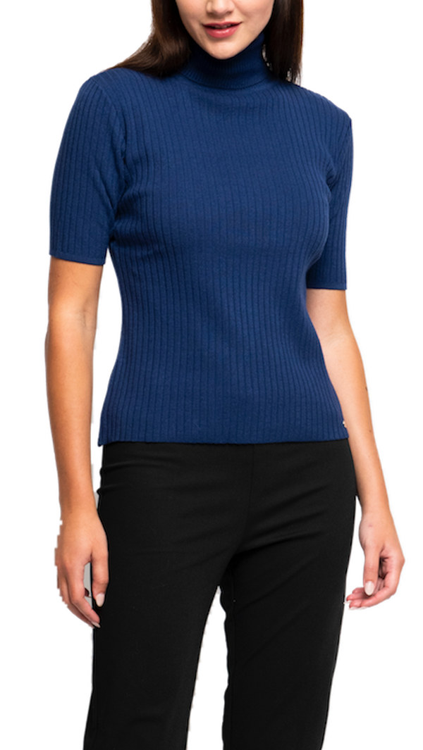 Copy of Tory Vertical Rib Knit Turtle Neck Top; Royal Blue