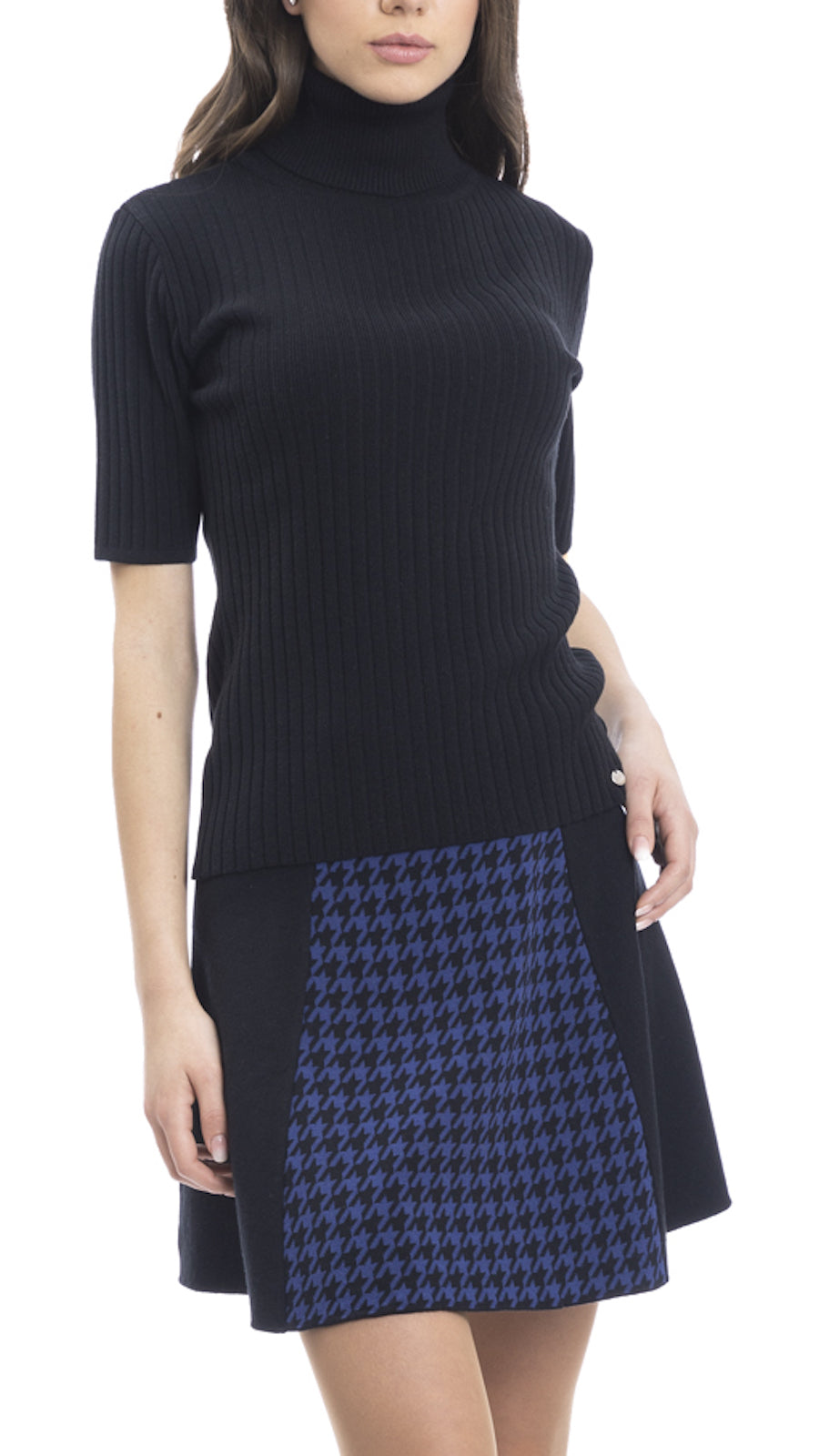 BIANA CONTEMPO Tory Vertical Rib Knit Turtle Neck Top; Black