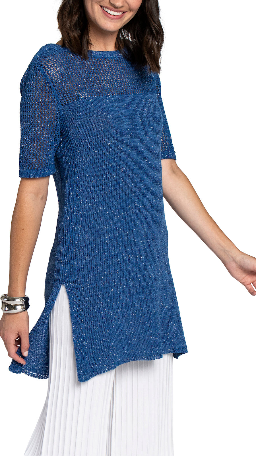 CONTEMPO Heidi Knitted Tunic, Shimmery Sky Blue