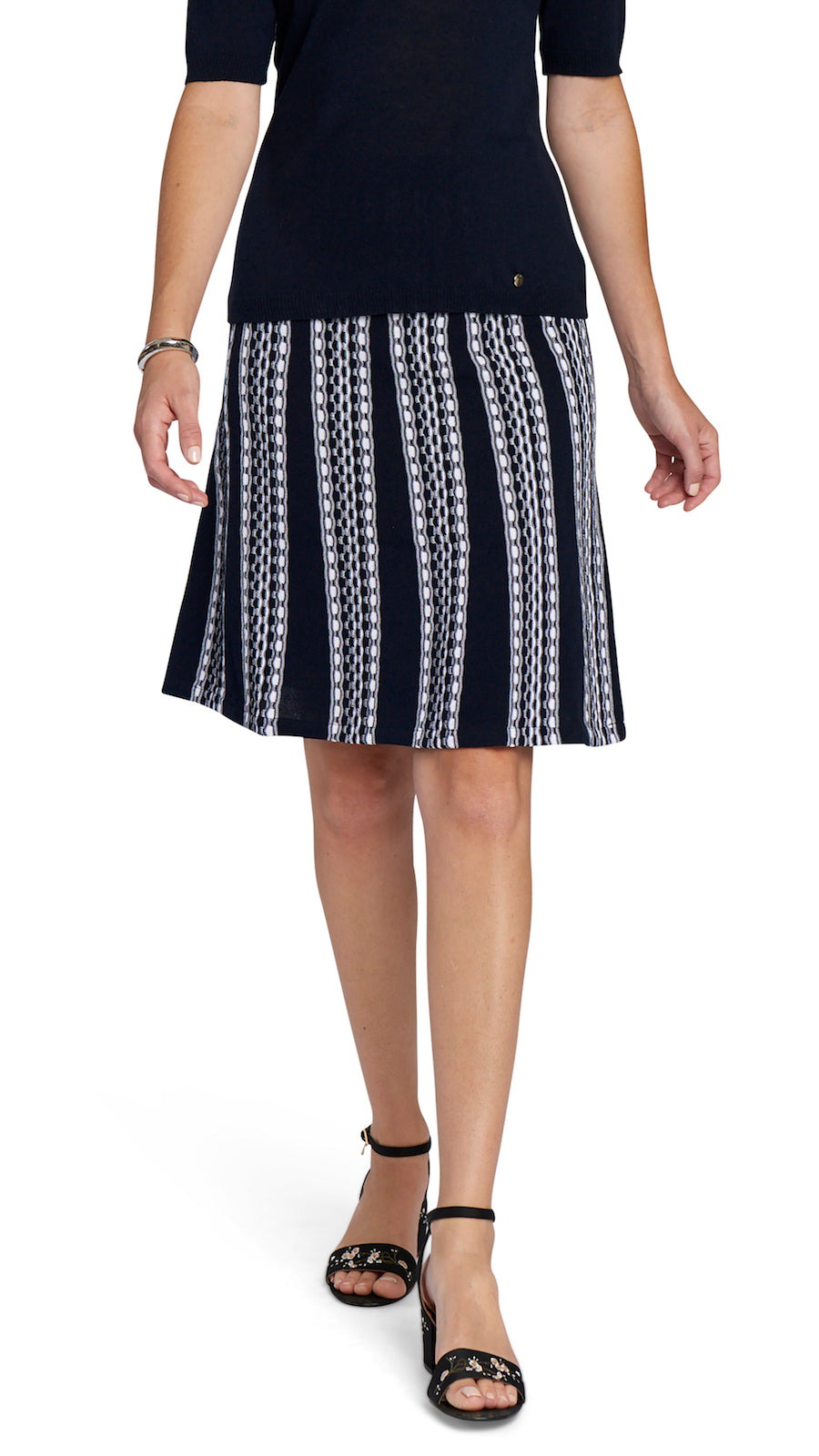 CONTEMPO Uma A-line Knitted Skirt, Navy/White