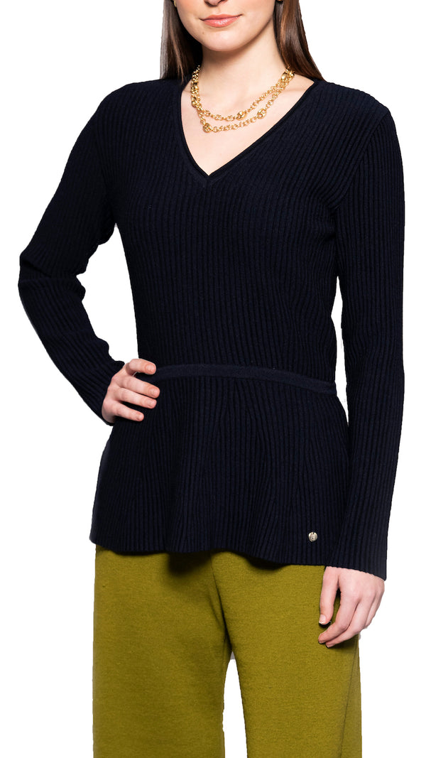 Verena fit and flare merino sweater, Navy