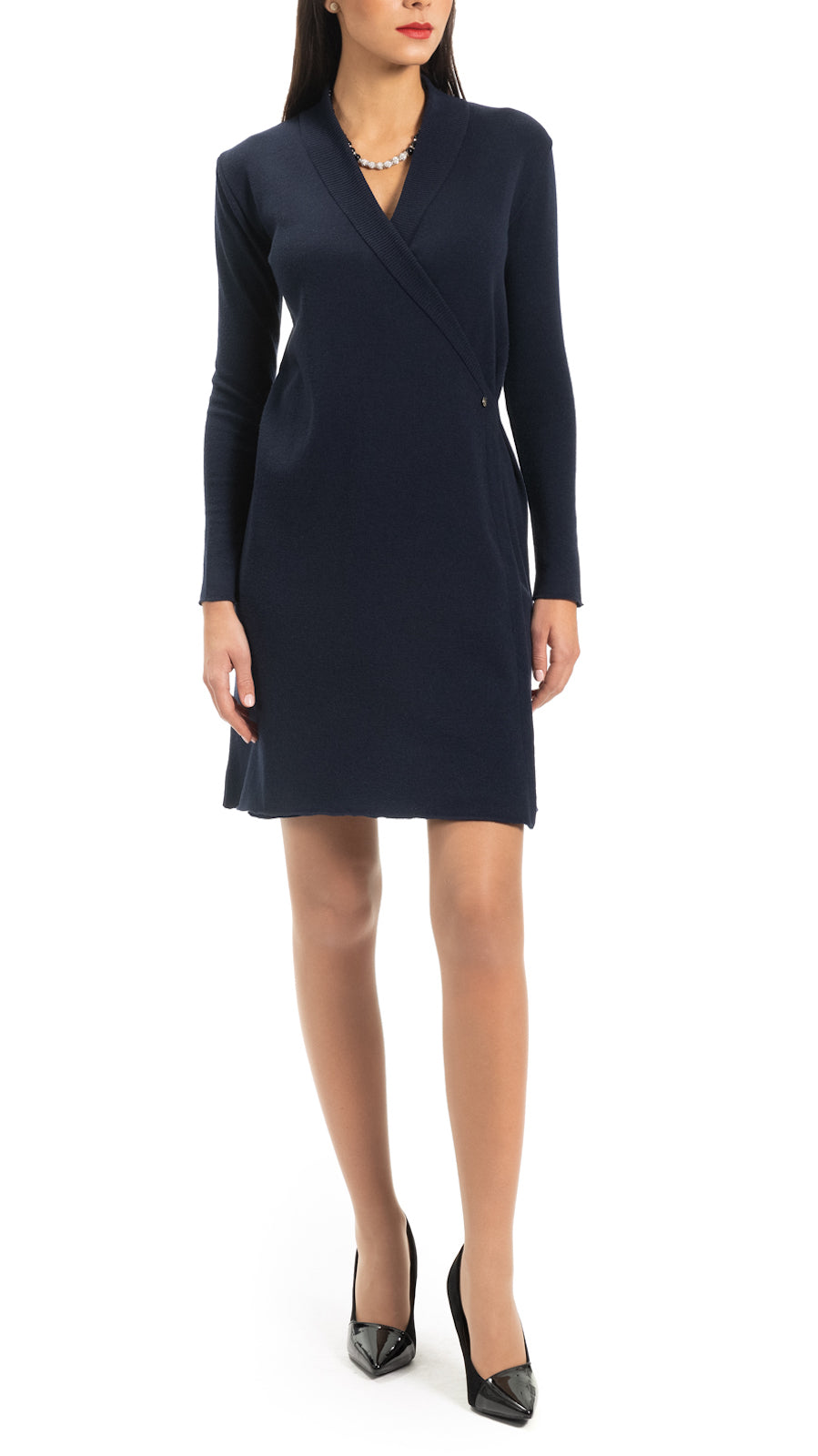 CONTEMPO Vikie knitted wrap dress, Navy