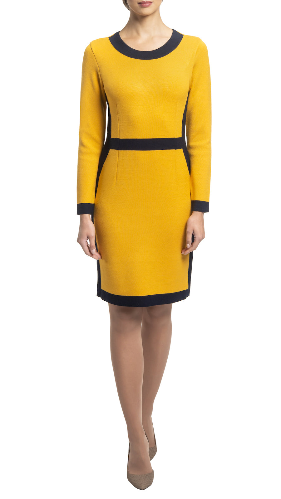 CONTEMPO Zora knitted dress, Gold-Navy