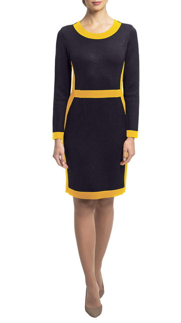 CONTEMPO Zora knitted dress, Navy-Gold