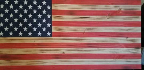 American Wood Burned Flag