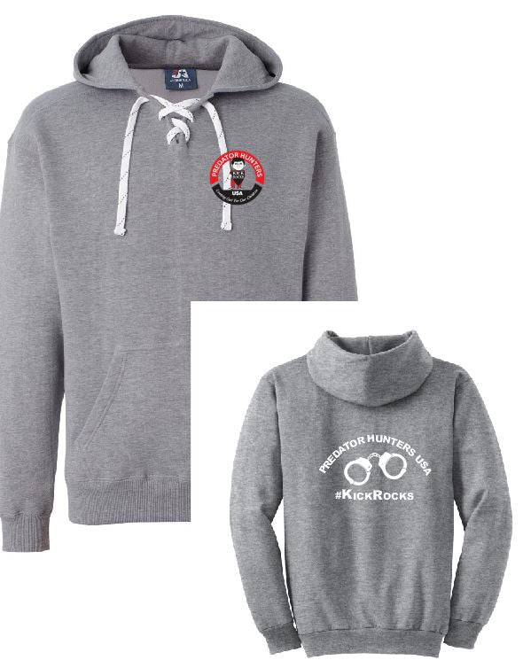 Hockey Lace Hooded Sweatshirt Gray