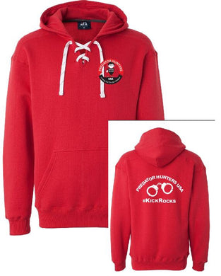 Hockey Lace Hooded Sweatshirt Red