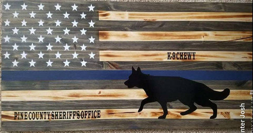 K-9 Thin Blue Line Flag (Custom Order)