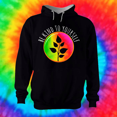 Be Kind To Yourself Hoodie Hoodie Grow Through Clothing Black Front Extra Small Unisex