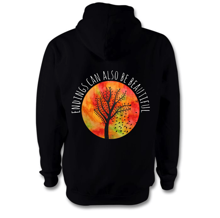 Beautiful Endings Hoodie Hoodie Grow Through Clothing Black Back Extra Small Unisex