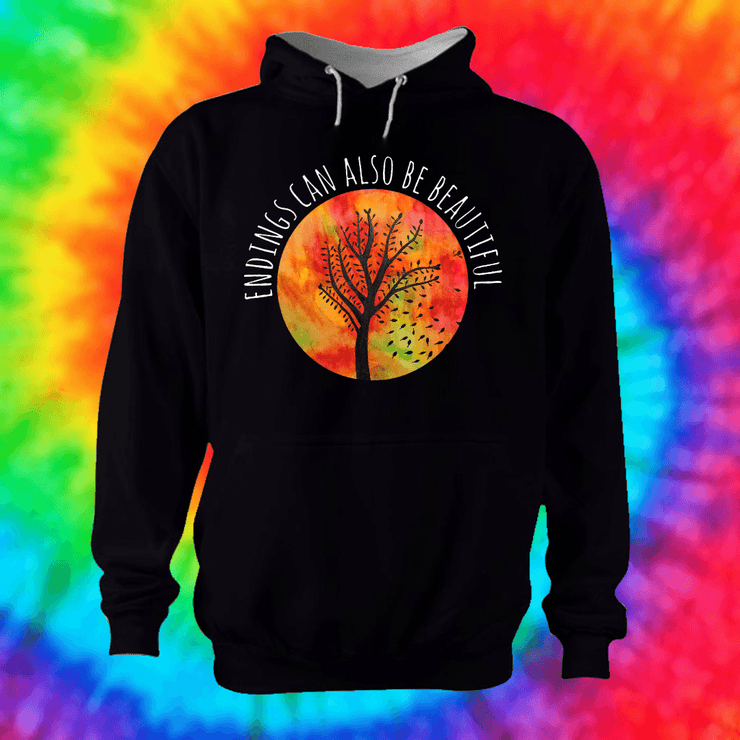 Beautiful Endings Hoodie Hoodie Grow Through Clothing Black Front Extra Small Unisex