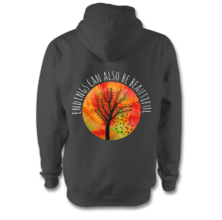 Beautiful Endings Hoodie Hoodie Grow Through Clothing Grey Back Extra Small Unisex