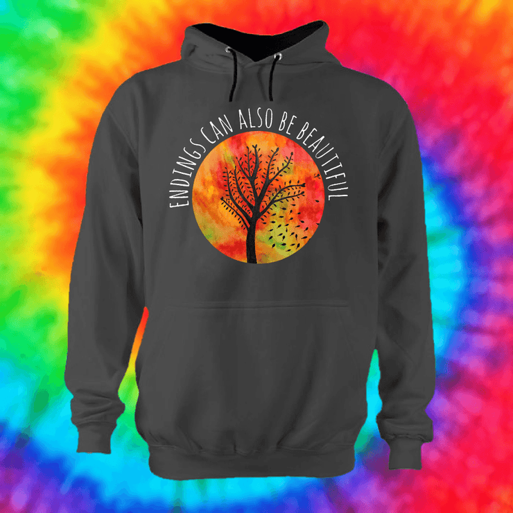 Beautiful Endings Hoodie Hoodie Grow Through Clothing Grey Front Extra Small Unisex