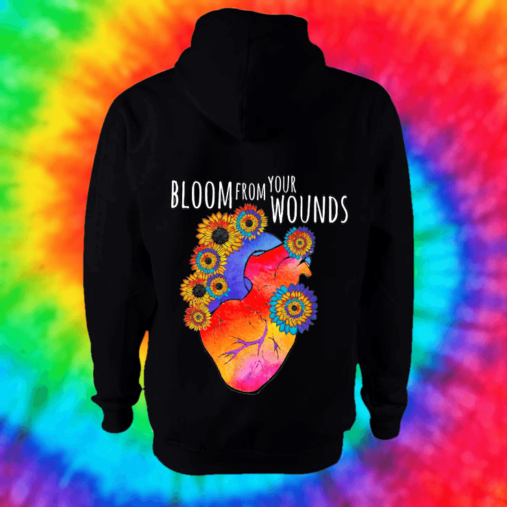 Bloom From Your Wounds Hoodie - Back Print Only Hoodie Grow Through Clothing Black Back Extra Small Unisex