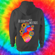 Bloom From Your Wounds Hoodie - Back Print Only Hoodie Grow Through Clothing Grey Back Extra Small Unisex
