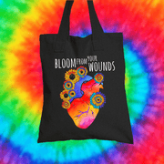 Bloom From Your Wounds Tote Bag Tote bag Grow Through Clothing Black