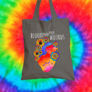 Bloom From Your Wounds Tote Bag Tote bag Grow Through Clothing Grey