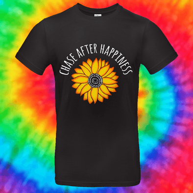 Chase After Happiness Tee T-shirt Grow Through Clothing Black Front Small Unisex