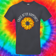 Chase After Happiness Tee T-shirt Grow Through Clothing Grey Front Small Unisex