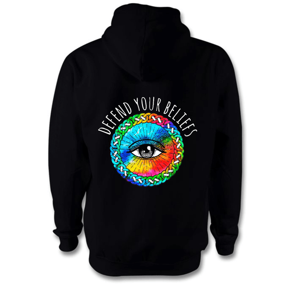 Defend Your Beliefs Hoodie Hoodie Grow Through Clothing Black Back Extra Small Unisex