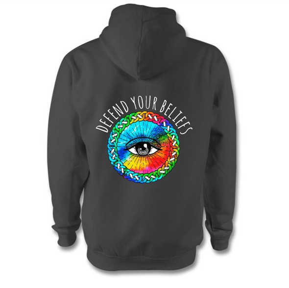 Defend Your Beliefs Hoodie Hoodie Grow Through Clothing Grey Back Extra Small Unisex