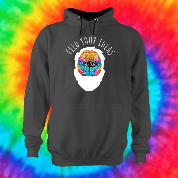 Feed Your Ideas Hoodie Hoodie Grow Through Clothing Grey Front Extra Small Unisex