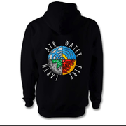 Four Elements Hoodie Hoodie Grow Through Clothing Black Back Extra Small Unisex