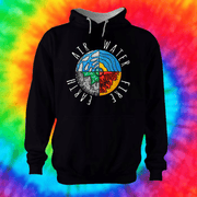 Four Elements Hoodie Hoodie Grow Through Clothing Black Front Extra Small Unisex