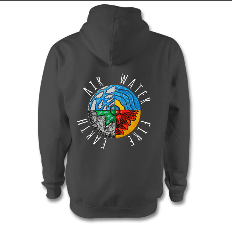 Four Elements Hoodie Hoodie Grow Through Clothing Grey Back Extra Small Unisex