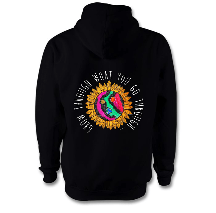 Grow Through What You Go Through Hoodie Hoodie Grow Through Clothing Black Back Extra Small Unisex