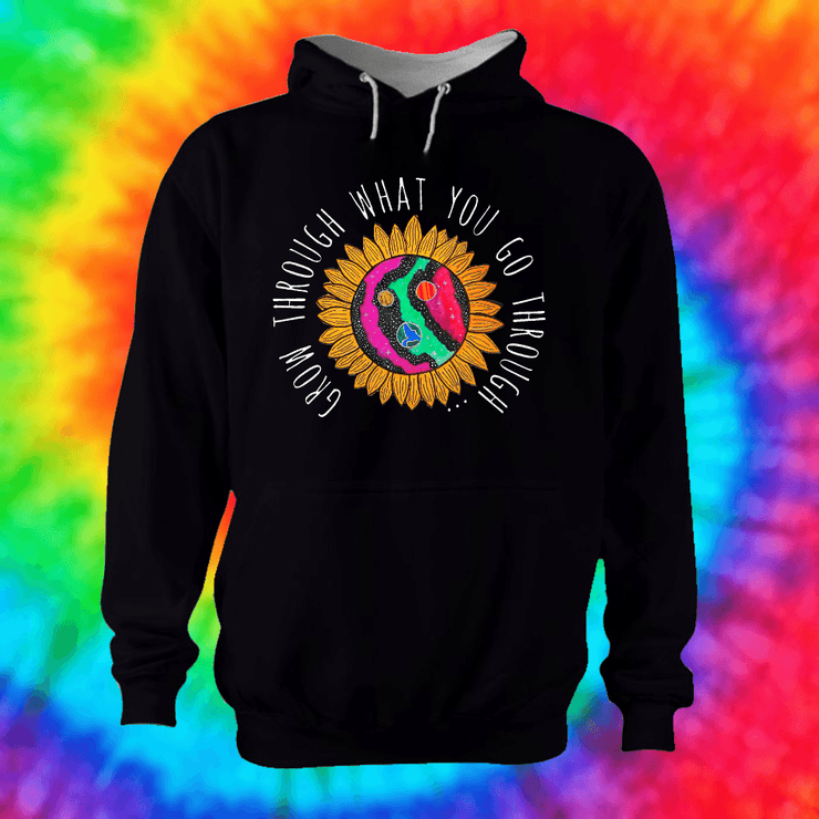 Grow Through What You Go Through Hoodie Hoodie Grow Through Clothing Black Front Extra Small Unisex