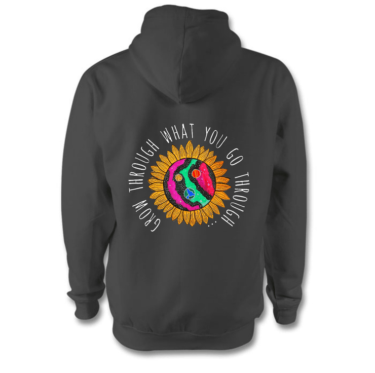 Grow Through What You Go Through Hoodie Hoodie Grow Through Clothing Grey Back Extra Small Unisex