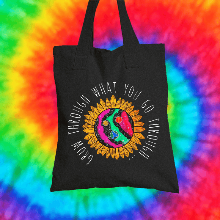 Grow Through What You Go Through Tote Bag Tote bag Grow Through Clothing Black