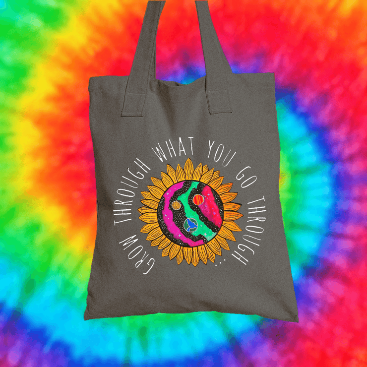 Grow Through What You Go Through Tote Bag Tote bag Grow Through Clothing Grey