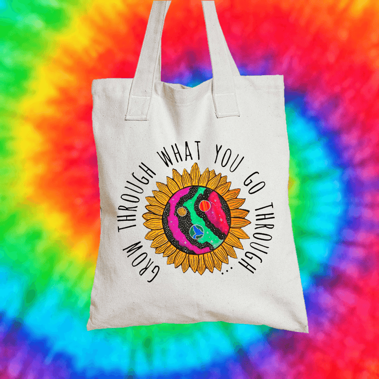 Grow Through What You Go Through Tote Bag Tote bag Grow Through Clothing White