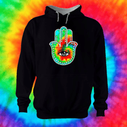 Hamsa Hand Hoodie Hoodie Grow Through Clothing Black Front Extra Small Unisex