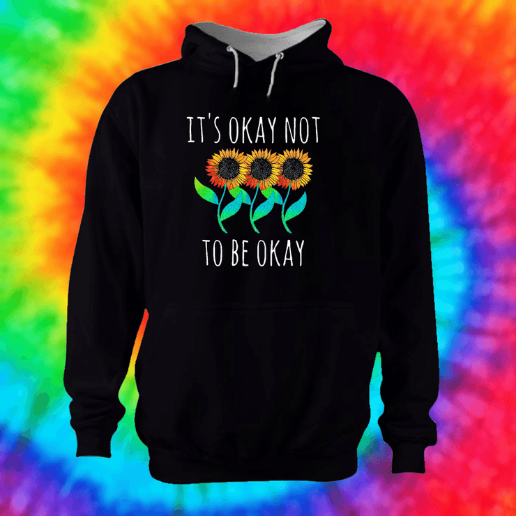 It's Okay Not To Be Okay Hoodie Hoodie Grow Through Clothing Black Front Extra Small Unisex