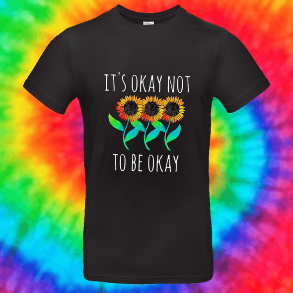 It's Okay Not To Be Okay Tee T-shirt Grow Through Clothing Black Front Small Unisex