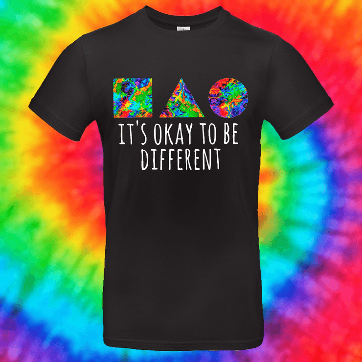 It's Okay To Be Different Tee T-shirt Grow Through Clothing Black Front Small Unisex