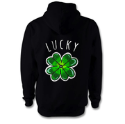 Lucky Clover Hoodie Hoodie Grow Through Clothing Black Back Extra Small Unisex