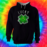 Lucky Clover Hoodie Hoodie Grow Through Clothing Black Front Extra Small Unisex