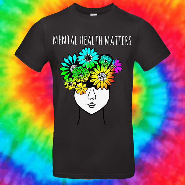 Mental Health Matters Tee T-shirt Grow Through Clothing Black Front Small Unisex