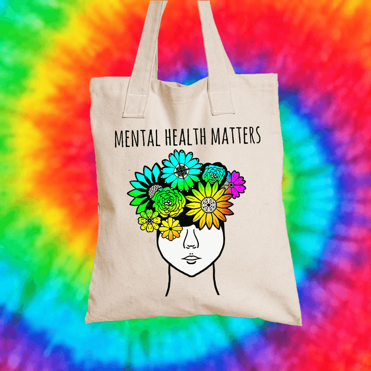 Mental Health Matters Tote Bag Tote bag Grow Through Clothing Beige