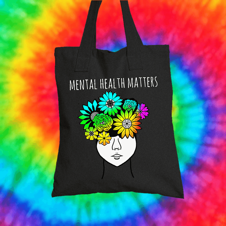 Mental Health Matters Tote Bag Tote bag Grow Through Clothing Black